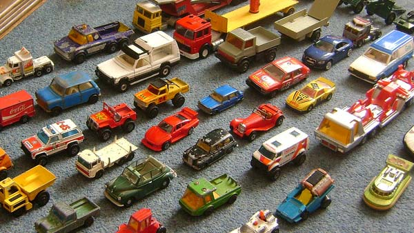 A photo of Matchbox cars.