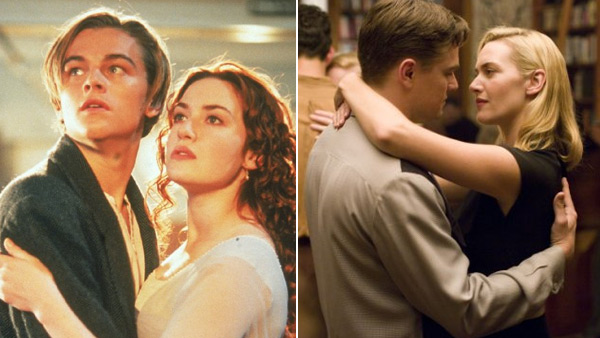 Leonardo DiCaprio appears in a scene alongside Kate Winslet in the 1997 film 'Titanic.' / Leonardo DiCaprio appears in a scene alongside Kate Winslet in the 2008 film 'Revolutionary Road.'