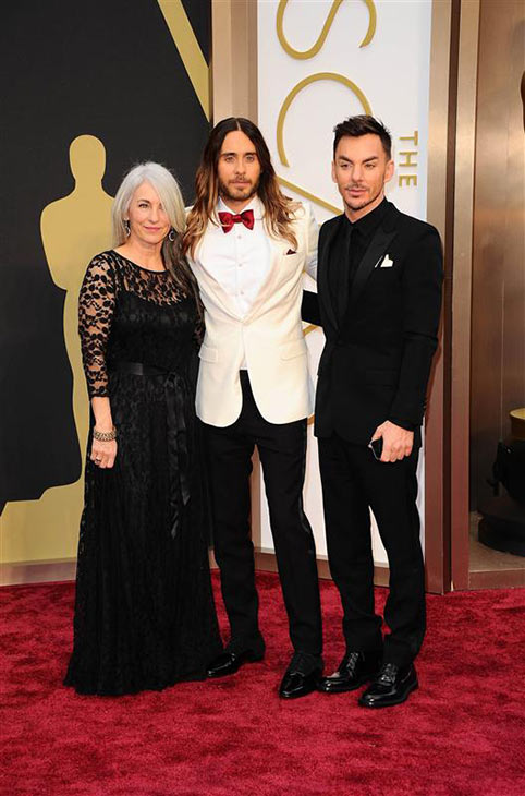 Jared Leto appears with brother Shannon Leto, his band mate in Thirty Seconds To Mars, and their mother, Constance, at the 2014 Oscars in Hollywood, California on March 2, 2014. Jared won his first Oscar at the ceremony, for his supporting role in &#39;Dallas Buyers Club.&#39; <span class=meta>(Kyle Rover &#47; Startraksphoto.com)</span>