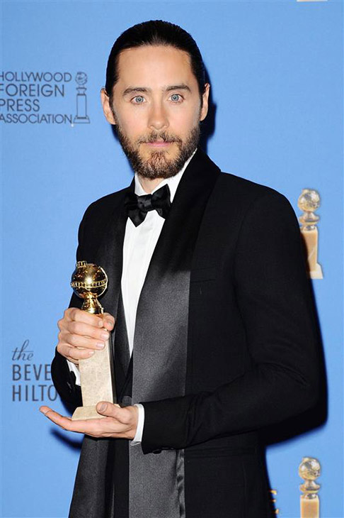 The &#39;Holy-Crap-I-Just-Won-A-Golden-Globe&#39; stare: Jared Leto appears backstage with his first Golden Globe Award at the 71st annual Golden Globe Awards at the Beverly Hilton Hotel on Sunday, Jan. 12, 2014, in Beverly Hills, California. He won the award for his role in &#39;Dallas Buyers Club.&#39; <span class=meta>(Sara De Boer &#47; Startraksphoto.com)</span>