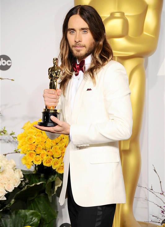 The &#39;I-Just-Won-My-First-Oscar-Tonight&#39; stare: Jared Leto appears backstage with his Oscar statuette at the 2014 Oscars in Hollywood, California on March 2, 2014. He won the award for Best Supporting Actor for his role as Rayon, a transgender woman and HIV-positive patient, in &#39;Dallas Buyers Club.&#39; Check out more details and watch VIDEOS of Jared Leto on the red carpet and speaking and joking with reporters backstage.&#41; <span class=meta>(Kyle Rover &#47; Startraksphotos.com)</span>