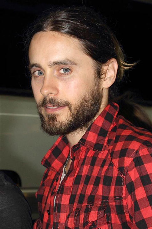 The &#39;We&#39;re-Mad-For-Plaid&#39; stare: Jared Leto arrives at Shinagawa Station in Tokyo after performing with Thirty Seconds To Mars in Osaka, Japan on April 2, 2014. <span class=meta>(Motoo Naka &#47; Startraksphotos.com)</span>