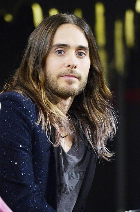 The 'Swedish Meatball' stare: Jared Leto appears on the Swedish TV show 'Skavlan' in Stockholm on Feb. 20, 2014.