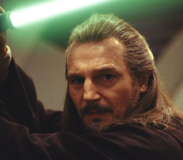 Liam Neeson appears in a scene from the 1999 film 'Star Wars: Episode I - The Phantom Menace.'