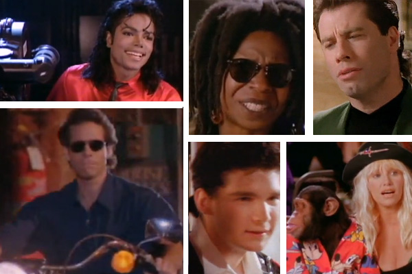 Clockwise from bottom left: Michael Jackson, Steve Guttenberg, Whoopi Goldberg, John Travolta, Suzanne Somers - with Bubbles the chimp - and former child star Corey Feldman appear in Jackson's 1989 music video 'Liberian Girl.'