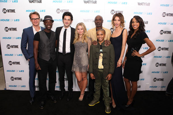 Josh Lawson, Don Cheadle, Ben Schwartz, Kristen Bell, Glynn R. Turman, Donis Leonard Jr., Dawn Olivieri and Megalyn Echikunwoke appear at the Los Angeles premiere of new Showtime series, &#39;House of Lies,&#39; on Jan. 4, 2012. <span class=meta>(Eric Charbonneau &#47; WireImage)</span>