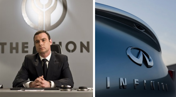 Live Schreiber in a scene from 'Repo Men.'/Infiniti logo.