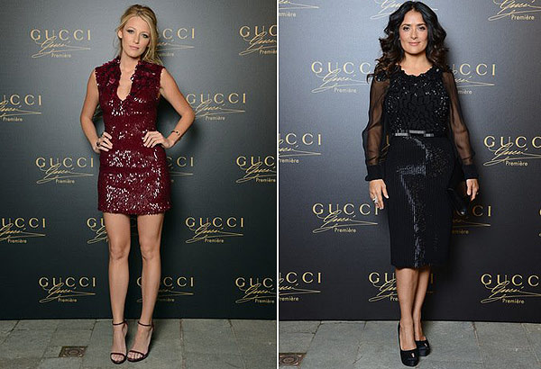 Blake Lively (right) and Salma Hayek attend the Gucci Premiere fragrance launch event at Hotel Cipriani in Venice, Italy on Sept. 2, 2012. - Provided courtesy of Gucci