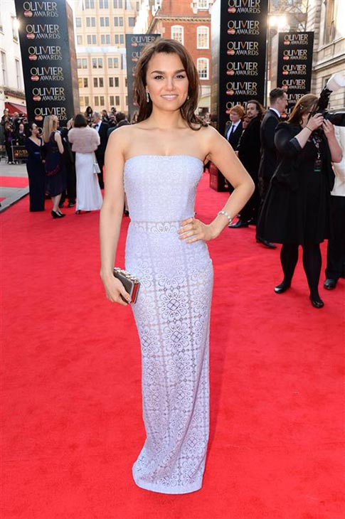 Samantha Barks &#40;Eponine in the 2012 musical film &#39;Les Miserables,&#39; a role she played in a London production&#41; appears at the 2014 Laurence Olivier Awards in London on April 13, 2014. She is wearing a lavender, strapless, lace-macrame Burberry Prorsum Spring 2014 gown. <span class=meta>(Richard Young &#47; Rex &#47; Startraksphoto.com)</span>