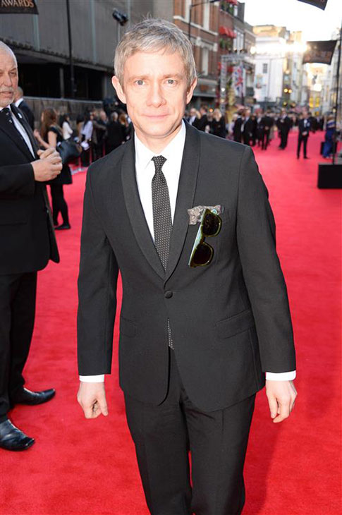 Martin Freeman &#40;John Watson in BBC&#39;s &#39;Sherlock,&#39; Bilbo Baggins in &#39;The Hobbit&#39; films&#41; appears at the 2014 Laurence Olivier Awards in London on April 13, 2014. <span class=meta>(Richard Young &#47; Rex &#47; Startraksphoto.com)</span>
