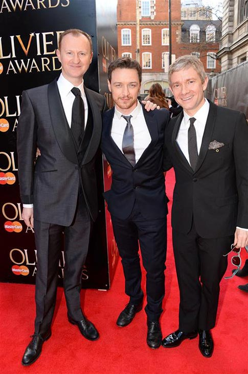 Mark Gatiss &#40;Mycroft Holmes on BBC&#39;s &#39;Sherlock,&#39; also the show&#39;s co-creator&#41;, James McAvoy &#40;Professor Charles Xavier in the new &#39;X-Men&#39; movies&#41; and Martin Freeman &#40;John Watson in BBC&#39;s &#39;Sherlock&#39;&#41; appear at the 2014 Laurence Olivier Awards in London on April 13, 2014. Gatiss was nominated for his role in the Shakespeare play &#39;Coriolanus.&#39; <span class=meta>(Richard Young &#47; Rex &#47; Startraksphoto.com)</span>