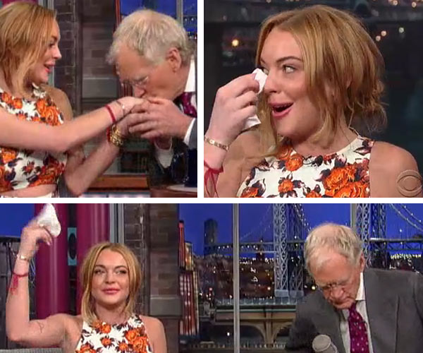 Lindsay Lohan appears on The Late Show with David Letterman on April 9, 2013. - Provided courtesy of CBS / Worldwide Pants