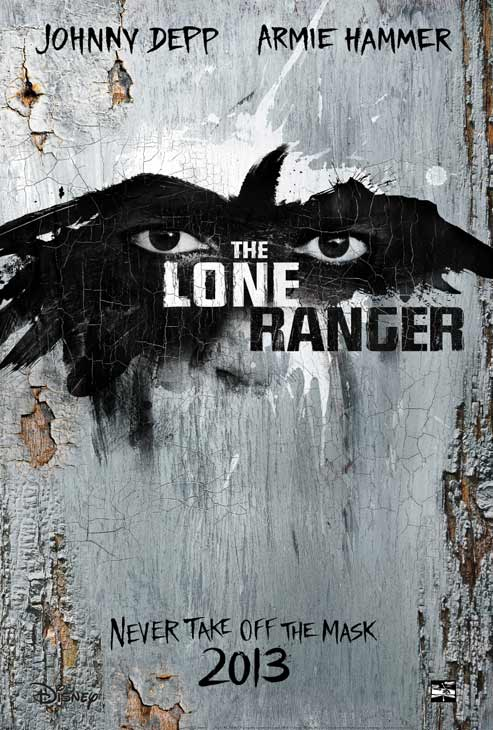 The official poster for Walt Disney's 2013 movie 'The Lone Ranger,' starring Johnny Depp and Armie Hammer.