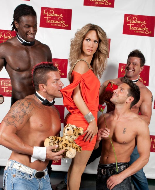 Jennifer Lopez's wax figure is surrounded by suitors from 'Chippendales' at the Rio All-Suite Hotel and Casino at Madame Tussauds Las Vegas on Aug. 3, 2011. Weeks earlier, she announced that she and husband Marc Anthony are ending their marriage.