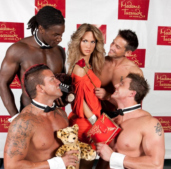 Jennifer Lopez's wax figure is surrounded by...