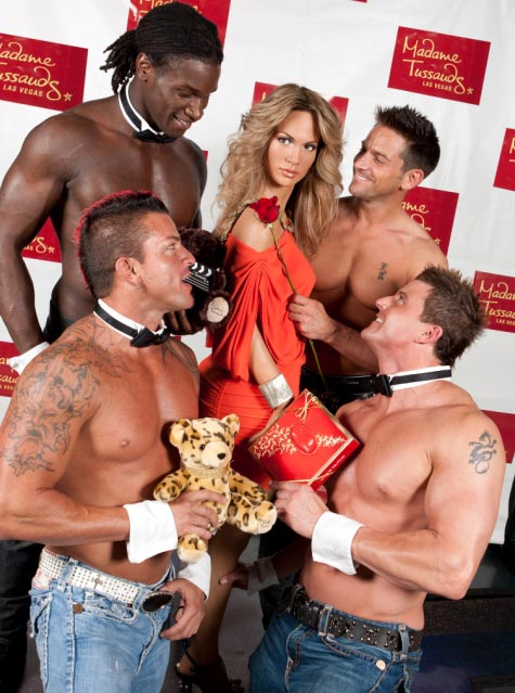 Jennifer Lopez&#39;s wax figure is surrounded by suitors from &#39;Chippendales&#39; at the Rio All-Suite Hotel and Casino at Madame Tussauds Las Vegas on Aug. 3, 2011. Weeks earlier, she announced that she and husband Marc Anthony are ending their marriage. <span class=meta>(Erik Kabik &#47; Madame Tussauds)</span>