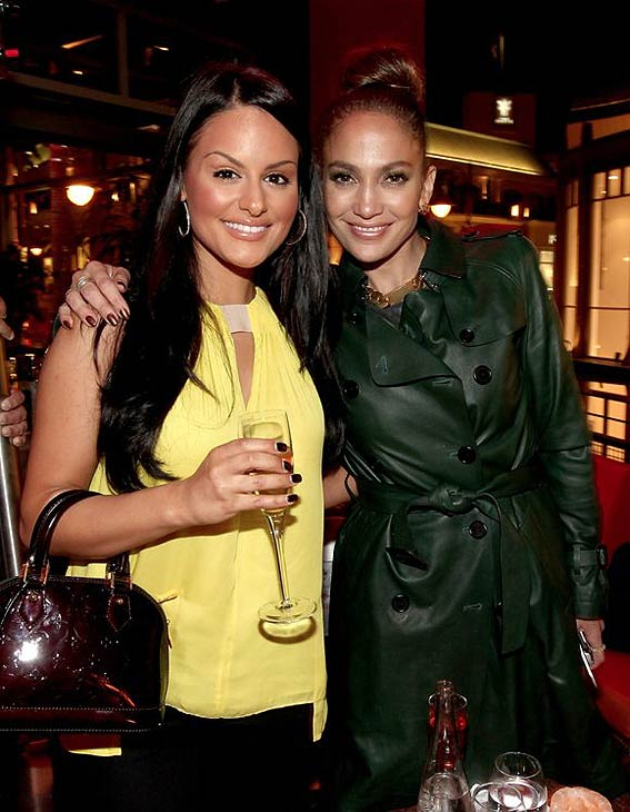 Jennifer Lopez and 'American Idol' alum Pia Toscano attend the grand opening of restaurant Planet Dailies and lounge Mixology 101 in Los Angeles on April 5, 2012. The event included a screening of the 'American Idol' judge's music video, 'Dance Again.'