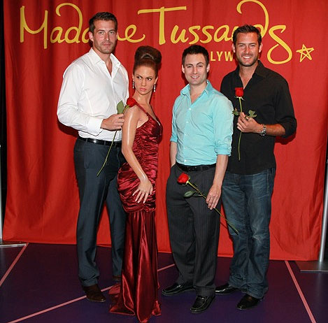 Matt Grant from the ABC show &#39;The Bachelor&#39; and Juan Barbieri and Jonathan Novack from &#39;The Bachelorette&#39; pose with Jennifer Lopez&#39;s wax figure at Madame Tussauds in Hollywood. <span class=meta>(Madame Tussauds)</span>