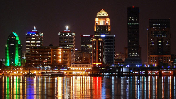 A photo of Louisville, Kentucky at night from the Ohio River.