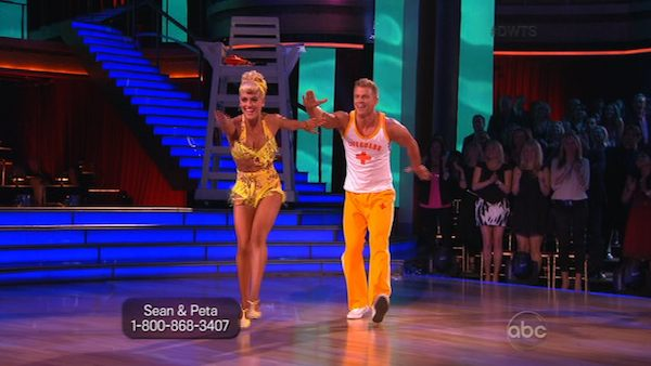 "<div class=""meta ""><span class=""caption-text "">Former 'Bachelor' star Sean Lowe and his partner Peta Murgatroyd received 20 out of 30 points from the judges for their Jive routine on week 2 of 'Dancing With The Stars,' which aired on March 25, 2013. They received a total of 39 out of 60 points for the past two weeks of performances. (ABC Photo / Adam Taylor)</span></div>"