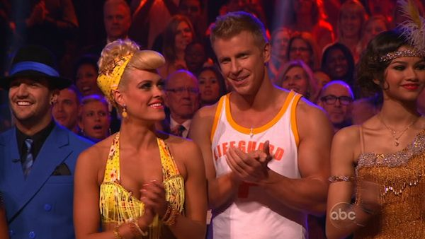 Former 'Bachelor' star Sean Lowe and his partner Peta Murgatroyd prepare to dance on week 2 of 'Dancing With The Stars,' which aired on March 25, 2013.
