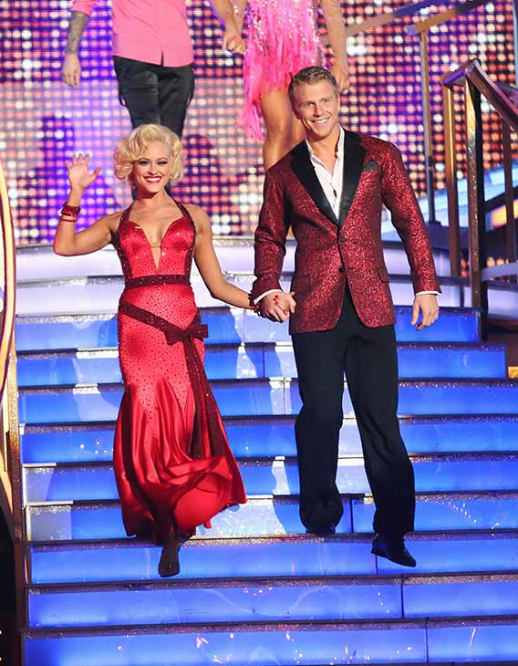 Former &#39;Bachelor&#39; star Sean Lowe and his partner Peta Murgatroyd prepare to dance on the season premiere of &#39;Dancing With The Stars,&#39; which aired on March 18, 2013. They received 19 out of 30 points from the judges for their Foxtrot routine. <span class=meta>(ABC Photo &#47; Adam Taylor)</span>