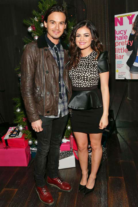 Lucy Hale and actor Tyler BlackBurn attend the...