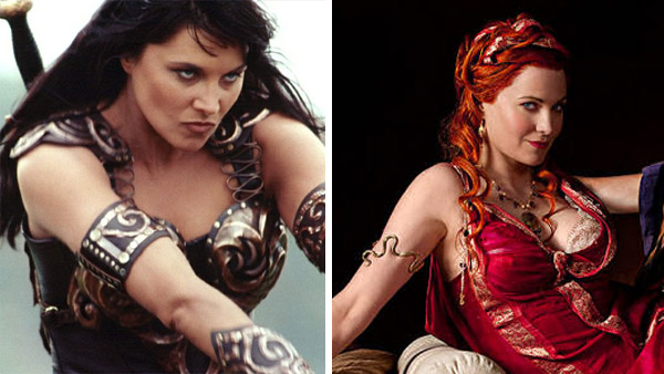 Lucy Lawless appears in a scene from 'Xena: Warrior Princess.'/ Lucy Lawless appears in a promotional image for 'Spartacus: Blood and Sand.'