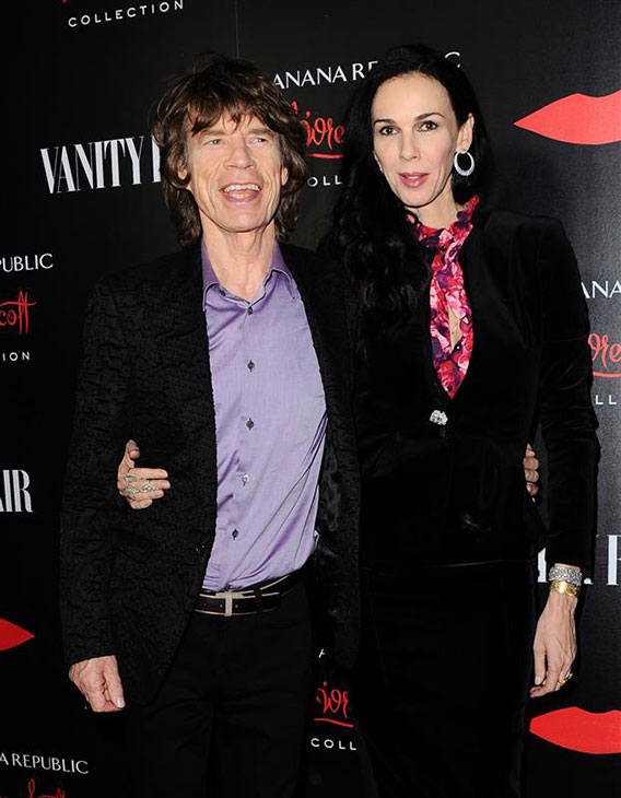 Mick Jagger and L'Wren Scott appear at the launch of the L'Wren Scott Collection at Banana Republic at the Chateau Marmont hotel in West Hollywood on Nov. 19, 2013. It was reported on March 17, 2014 that Scott died at age 47 of an apparent suicide.