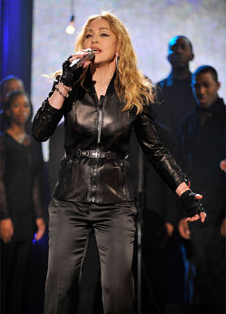 Still of Madonna performing at the 'Hope for Haiti Now' charity event on Jan. 22, 2010 in New York.