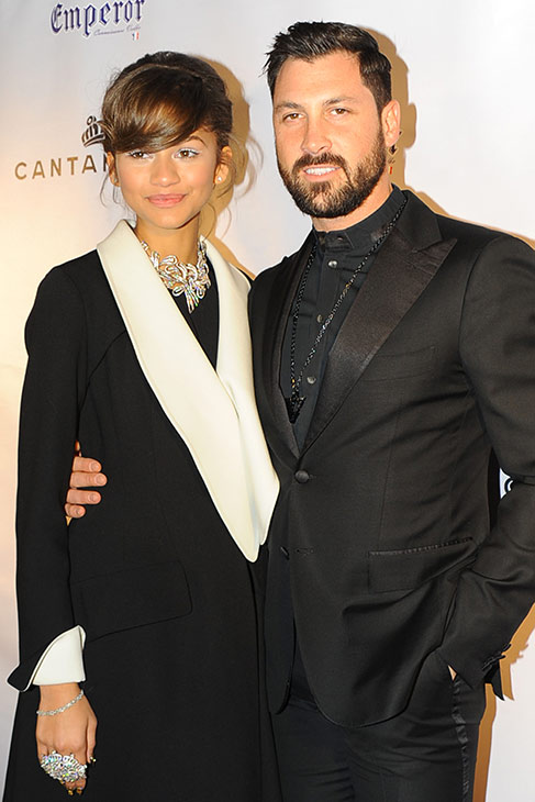 "<div class=""meta image-caption""><div class=""origin-logo origin-image ""><span></span></div><span class=""caption-text"">Zendaya and Maksim Chermovskiy appear at the 'Dancing With The Stars' alum's and Robert Kheit 's Cantamessa Men jewelry collection launch party at Tao Downtown Lounge in New York on Feb. 10, 2014. She is wearing Cantamessa jewelry. (Paul Bruinooge / PatrickMcMullan.com)</span></div>"