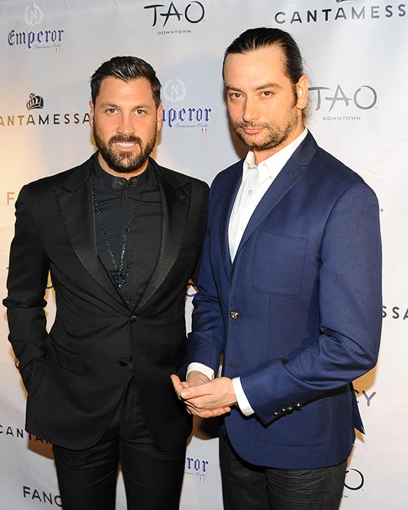 &#39;Dancing With The Stars&#39; alum Maksim Chermovskiy appears at his and Robert Kheit&#39;s Cantamessa Men jewelry collection launch party at Tao Downtown Lounge in New York with &#39;American Idol&#39; alum and Broadway star Constantine Maroulis on Feb. 10, 2014. <span class=meta>(Paul Bruinooge &#47; PatrickMcMullan.com)</span>