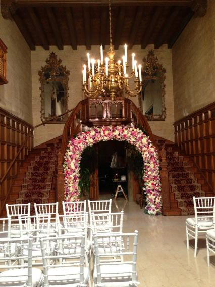 Crystal Harris posted on Twitter this photo of the Playboy Mansion decorated for her wedding to Hugh Hefner on Dec. 31, 2012. <span class=meta>(twitter.com&#47;CrystalHarris&#47;status&#47;285925300158726144&#47;photo&#47;1)</span>