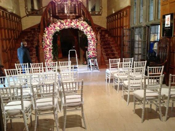 Crystal Harris posted on Twitter this photo of the Playboy Mansion decorated for her wedding to Hugh Hefner on Dec. 31, 2012. <span class=meta>(twitter.com&#47;CrystalHarris&#47;status&#47;285860076009447424&#47;photo&#47;1)</span>