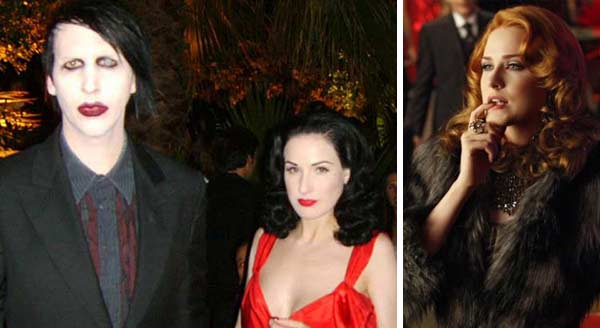 Marilyn Manson and ex-wife Dita Von Teese attend the 2006 Cannes Festival on May 3, 2004. / Evan Rachel Wood appears in a scene from the show 'True Blood.'