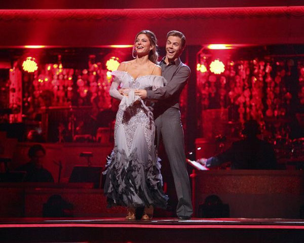 "<div class=""meta ""><span class=""caption-text "">TV personality Maria Menounos and her partner Derek Hough appear on 'Dancing With The Stars: The Results Show' on Tuesday, May 8, 2012. The pair received 28 out of 30 for their Viennese Waltz and 25 out of 30 for their Dance Trio on week eight of 'Dancing With The Stars,' which aired on May 7, 2012. (OTRC)</span></div>"