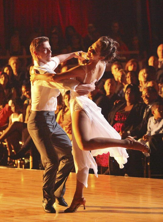 "<div class=""meta ""><span class=""caption-text "">TV personality Maria Menounos and her partner Derek Hough received 27 out of 30 points from the judges for their Rumba on week three of 'Dancing With The Stars,' which aired on April 2, 2012. (ABC Photo)</span></div>"