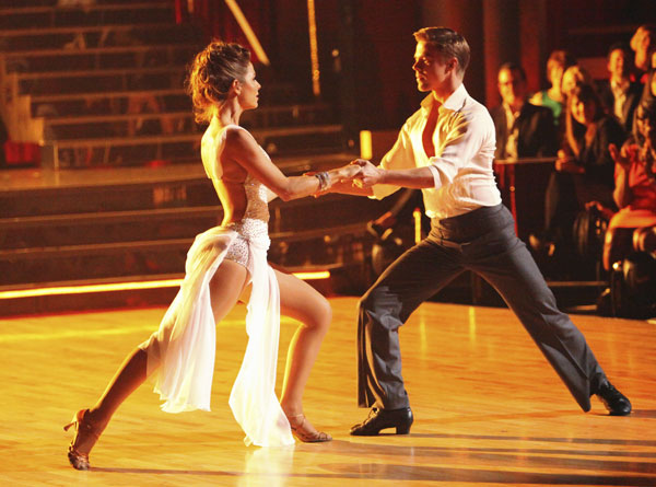 TV personality Maria Menounos and her partner Derek Hough received 27 out of 30 points from the judges for their Rumba on week three of &#39;Dancing With The Stars,&#39; which aired on April 2, 2012. <span class=meta>(ABC Photo)</span>