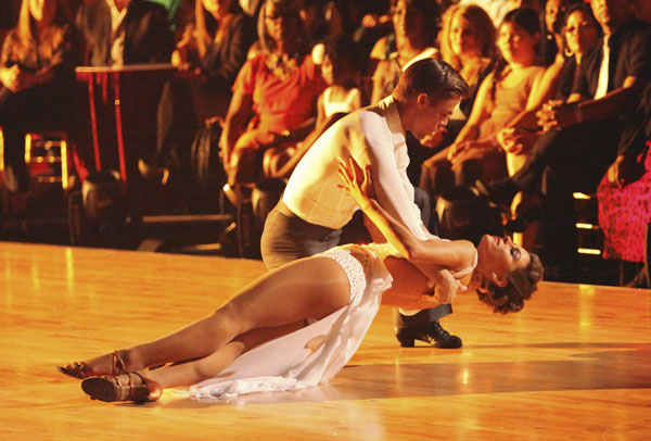 TV personality Maria Menounos and her partner Derek Hough received 27 out of 30 points from the judges for their Rumba on week three of 'Dancing With The Stars,' which aired on April 2, 2012.