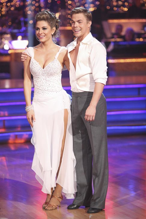"<div class=""meta image-caption""><div class=""origin-logo origin-image ""><span></span></div><span class=""caption-text"">TV personality Maria Menounos and her partner Derek Hough received 27 out of 30 points from the judges for their Rumba on week three of 'Dancing With The Stars,' which aired on April 2, 2012. (ABC Photo)</span></div>"