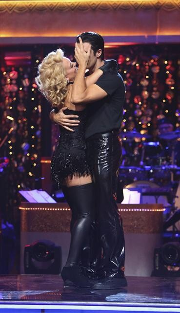 French actor Gilles Marini and his partner Peta Murgatroyd react to being safe from elimination on &#39;Dancing With The Stars: The Results Show&#39; on October 30, 2012. The two received 27.5 out of 30 points from the judges for their Cha Cha Cha on &#39;Dancing With The Stars: All-Stars,&#39; which aired on October 29, 2012. <span class=meta>(ABC Photo)</span>