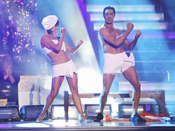 Gilles Marini and Peta Murgatroyd appear in a photo from their group Freestyle group dance on October 23, 2012. The group received 27 out of 30 points from the judges for their Freestyle dance. <span class=meta>(ABC Photo)</span>