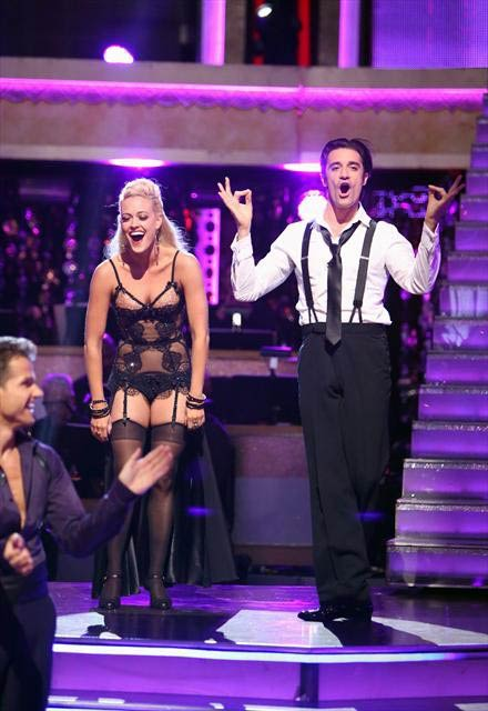 French actor Gilles Marini and his partner Peta Murgatroyd react to being safe from elimination on 'Dancing With The Stars: The Results Show' on Tuesday, Oct. 9, 2012.