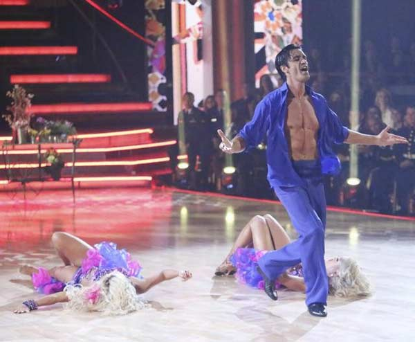 French actor Gilles Marini and his dance partners Peta Murgatroyd and Chelsie Hightower received 29 out of 30 points from the  judges for their Salsa on &#39;Dancing With The Stars: All-Stars,&#39; which aired on November 12, 2012. <span class=meta>(ABC &#47; OTRC)</span>