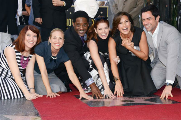 The time &#39;Law and Order: SVU&#39; star Mariska Hargitary was joined by Kate Flannery, Maria Bello, Blair Underwood, Debra Messing and Danny Pino at the unveiling of her star on the Hollywood Walk of Fame on Nov. 8, 2013. <span class=meta>(Lional Hahn &#47; ABUSA &#47; Startraksphoto.com)</span>