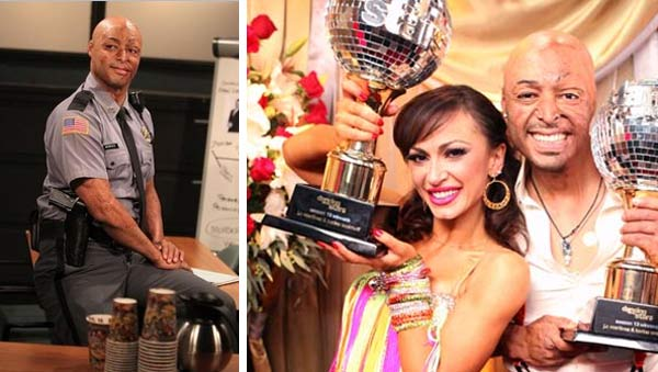 J.R. Martinez appears in an undated episode of 'All My Children.' / J.R. Martinez and Karina Smirnoff hold up their Mirror Ball trophies after winning season 13 of 'Dancing With The Stars' on Nov. 22, 2011.