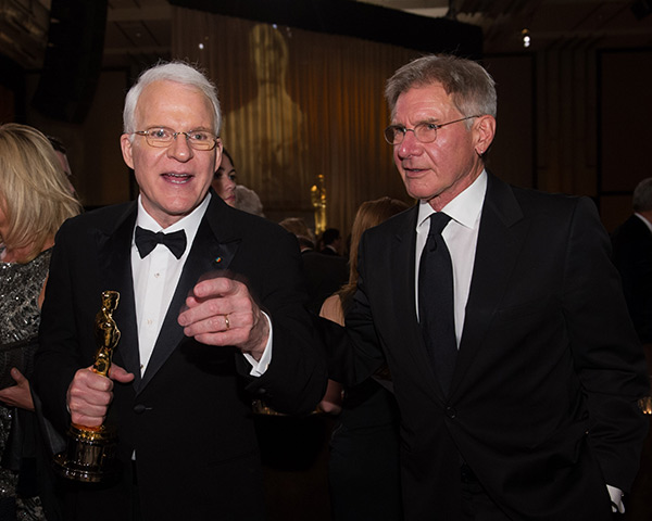 Honorary Award recipient Steve Martin appears with Harrison Ford at the 2013 Governors Awards at The Ray Dolby Ballroom in Hollywood, California on Saturday, Nov. 16, 2013. <span class=meta>(Michael Yada &#47; A.M.P.A.S.)</span>