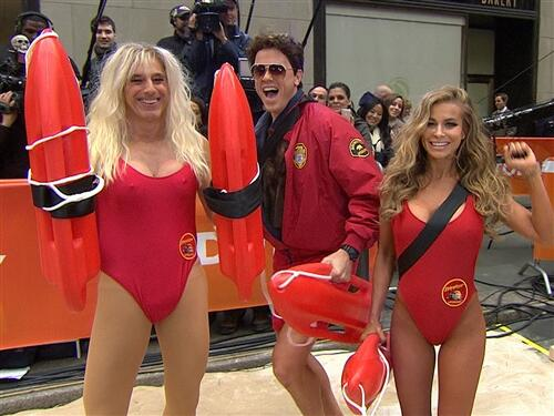 'Today' show hosts Matt Lauer and Willie Geist dressed as Pamela Anderson and David Hasselhoff with original 'Baywatch' star Carmen Electra on Oct. 31, 2013 -- Halloween.