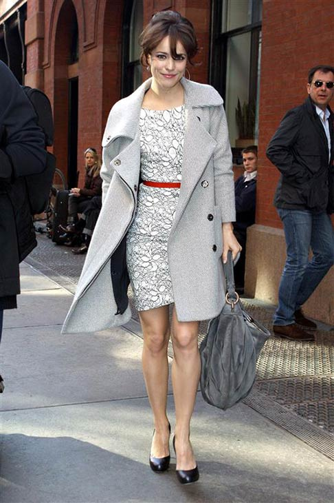 Rachel McAdams wears a L&#39;Wren Scott dress and belt as she arrives for a taping of &#39;Late Night with Jimmy Fallon&#39; in New York on April 16, 2009. <span class=meta>(Freddie Baez &#47; Startraksphoto.com)</span>