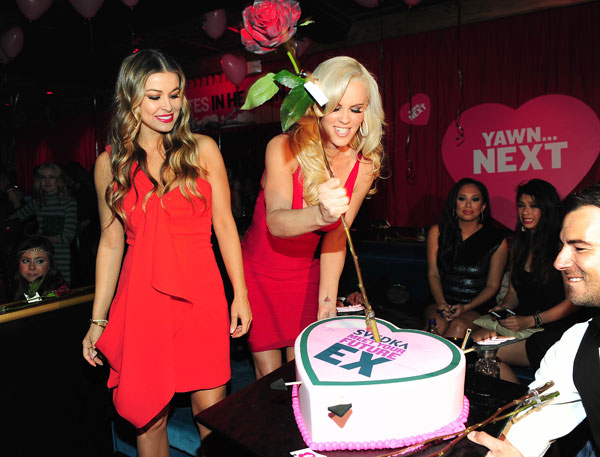 Jenny McCarthy and Carmen Electra appear with guests at SVEDKA Vodka's Anti-Valentine's Day Bash at AGENCY Boutique Nightclub in Los Angeles on Jan. 31, 2012.